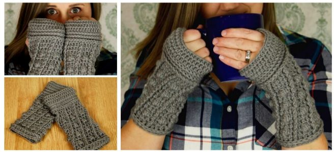 Crochet fingerless gloves in grey with a Dalek-inspired design