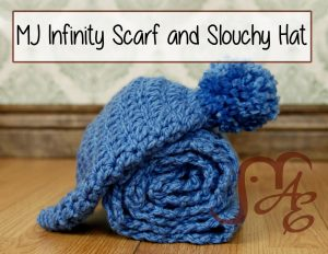 Crochet Blue hat and rolled scarf