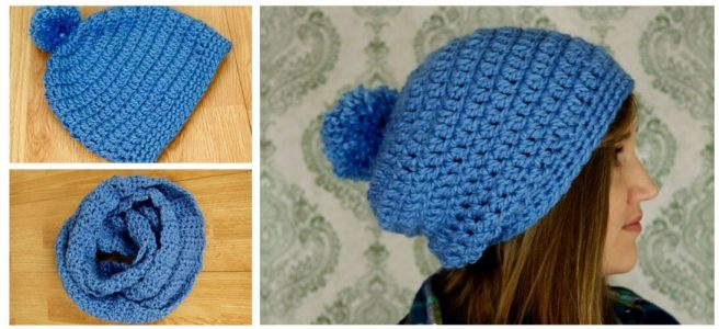 Woman wearing blue crochet slouchy hat and infinity scarf