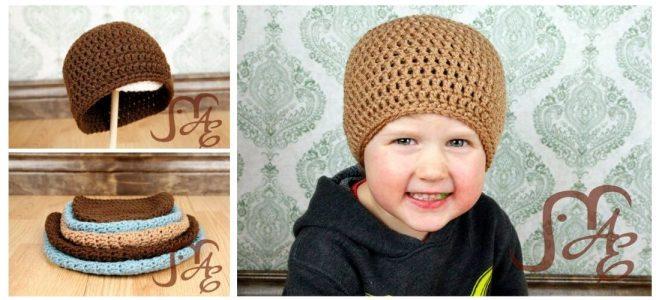 Boy wearing crochet beanie