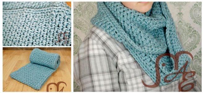 Crochet light blue scarf