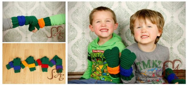 Two Boys wearing green turtle gloves with green and blue wrist wraps