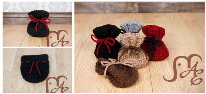 Crochet dice bags in several earth tone colors