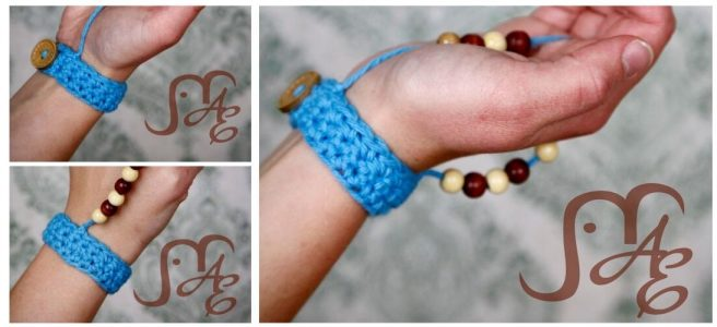 Crochet wrist band with beads