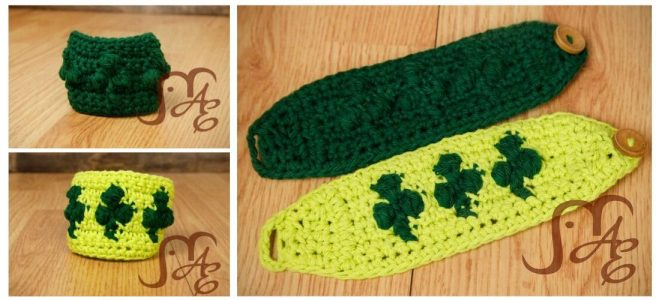 Crochet buttoned wrist cuffs in dark green and light green with Shamrock designs