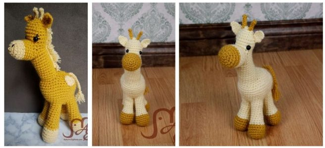 Crochet giraffe plush
