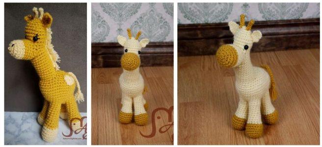 Crochet giraffe plush
