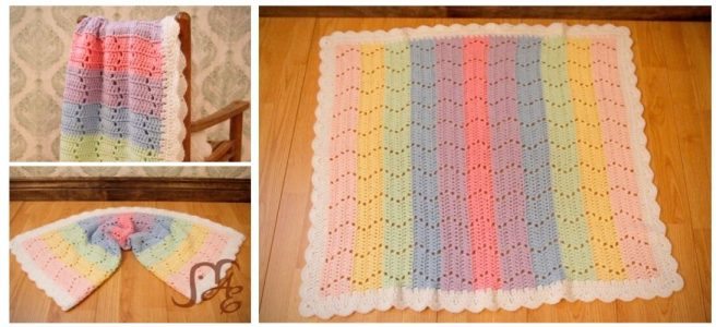 Crochet rainbow blanket with zig zag design
