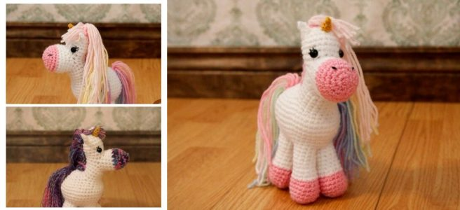 Crochet Unicorn plush in white and rainbow colors