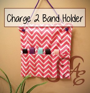 Pink and white chevron FitBit Charge 2 spare band holder wall hanging