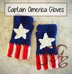 Crochet fingerless gloves in red, white, and blue with stars