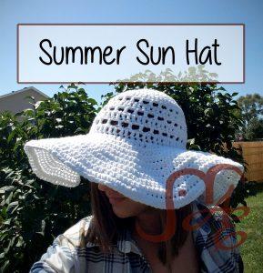 Woman wearing white Crochet summer sun hat