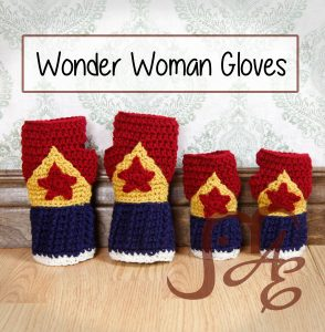 Two pairs of Crochet wonder woman themed fingerless gloves