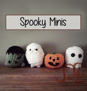 Mini spooky crochet frankenstein head, mummy, jack-o-lantern, and ghost.