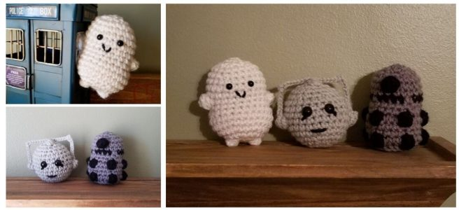 Crochet Mini Doctor Who villains, Adipose, Cyberman, Dalek