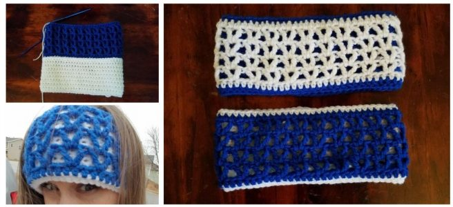 Two sided crochet earwarmers in blue and white