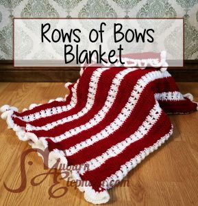 Crochet rows of bows blanket, red and white stripes