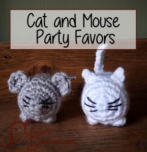 Little Crochet grey mouse and white cat