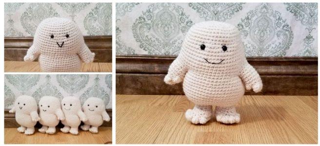 Crochet white adipose plush