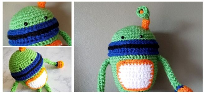 Crochet green robot plush