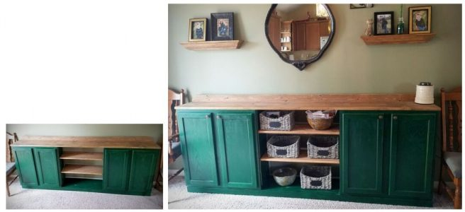 Green wooden Buffet Cabinet