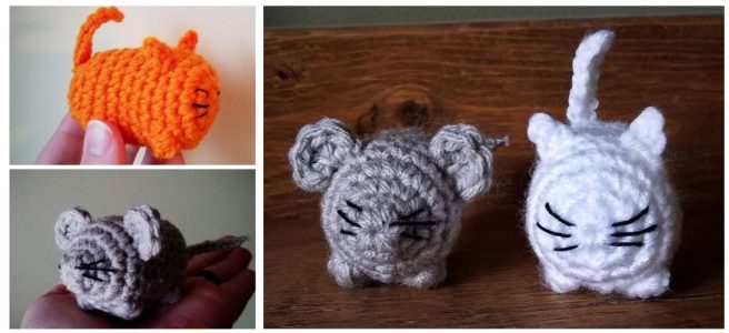 Crochet little orange cat and white cat and grey mouse