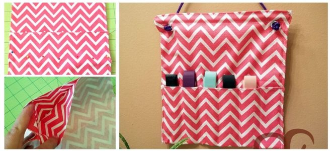 Pink and white chevron hanging holder for FitBit Charge 2 bands