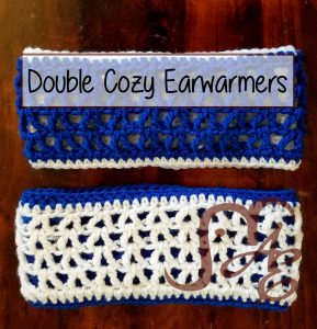 Crochet dual sided earwarmers in blue and white