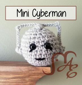 Crochet mini Cyberman in grey
