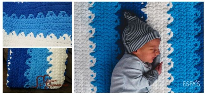 Baby laying on blue and white crochet blanket