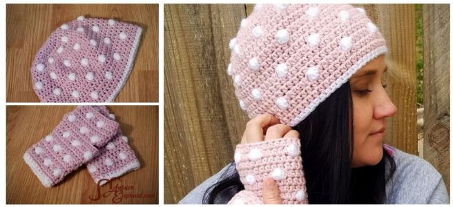Woman wearing crochet beanie and fingerless gloves in pink with white polka dots