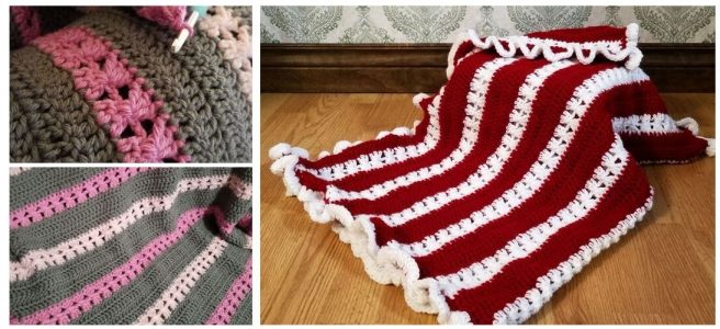 Crochet striped blankets in pink and grey and red and white