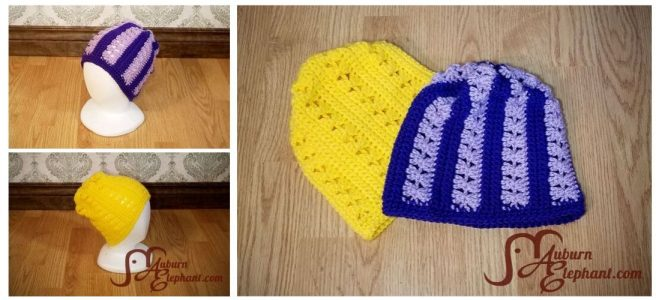 Crochet beanies in yellow and in dark and light purple stripes