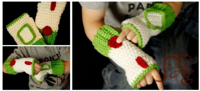 Crochet Fingerless space ranger gloves in green and white