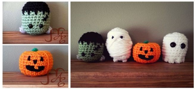 Crochet mini spooky figures of Frankenstein's monster, mummy, jack-o-lantern, and ghost