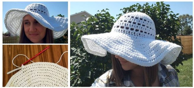 Woman wearing White crochet sun hat outside