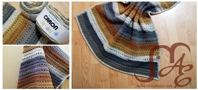 Crochet blanket in brown and grey toned stripes