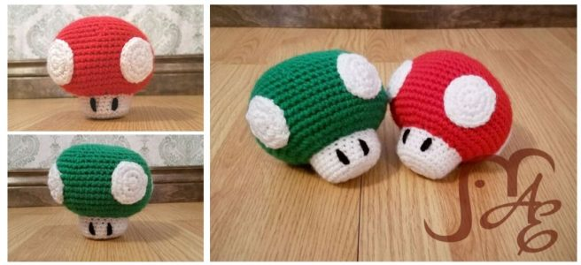 Crochet Green and Red toadstool plushes