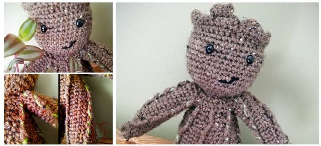 Crochet brown groot plush