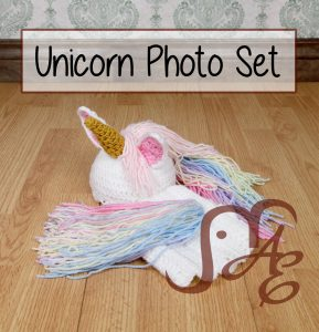 Crochet Unicorn hat and diaper cover set for babies