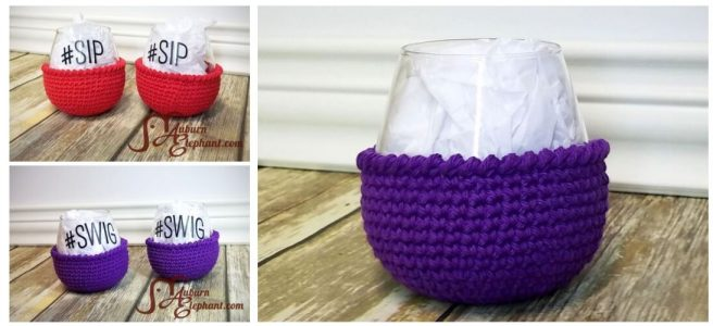 Stemless wine glasses with red and purple crochet coozies