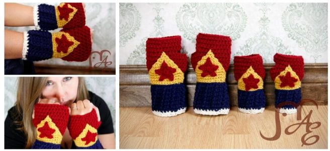 Crochet Wonder Woman themed gloves in adult and child sizes