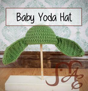 Crochet green baby yoda hat