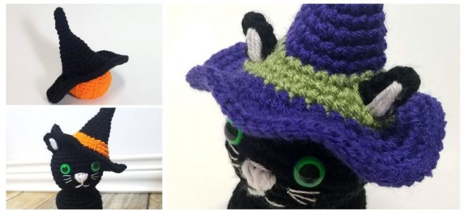Crochet Halloween Witch Hat for Black Kitty Plush