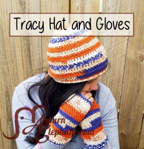 Woman wearing crochet beanie and fingerless gloves