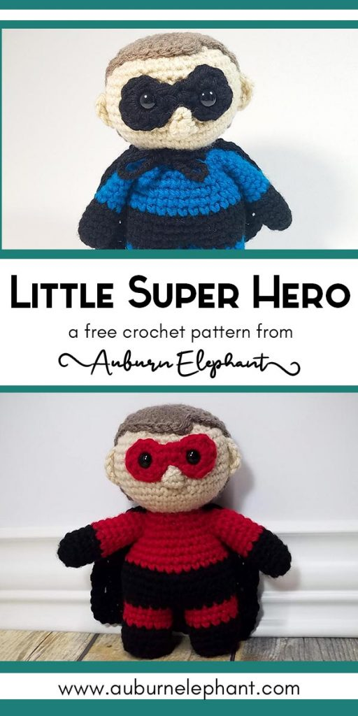 Crochet Little Super Hero doll in blue and in red